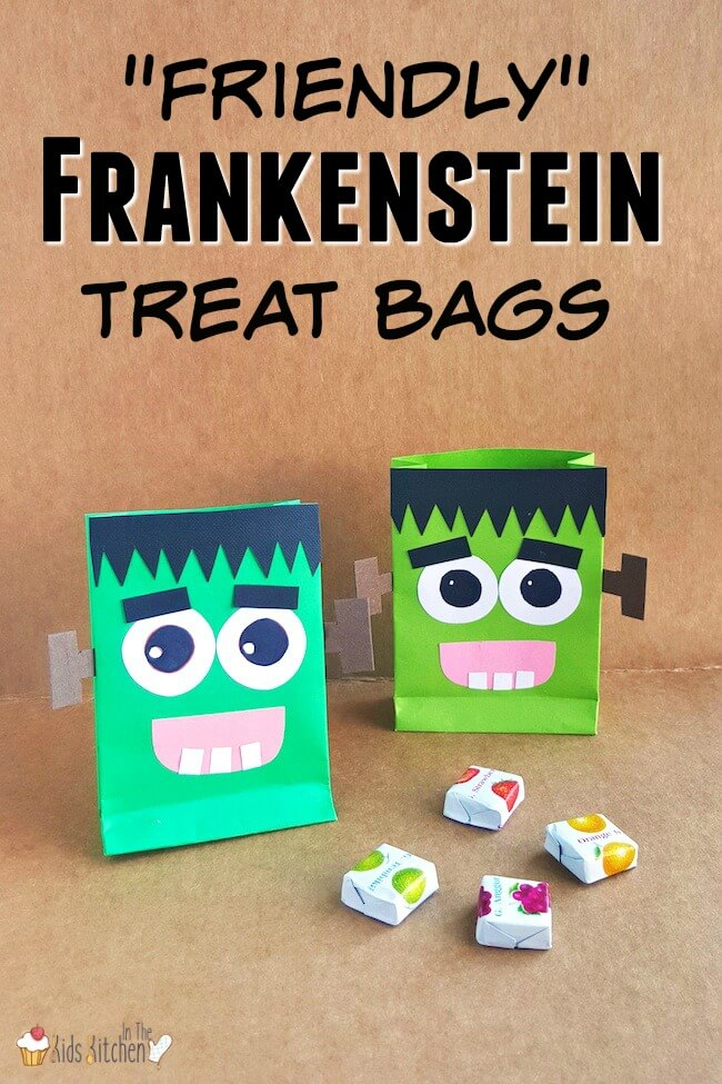 A super cute (and easy) tutorial to make Friendly Frankenstein DIY Halloween Treat Bags! Free printable included.