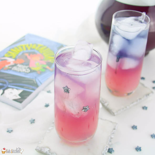 A magical color-changing Galaxy Lemonade recipe inspired by the new book, Sanity & Tallulah by Molly Brooks.