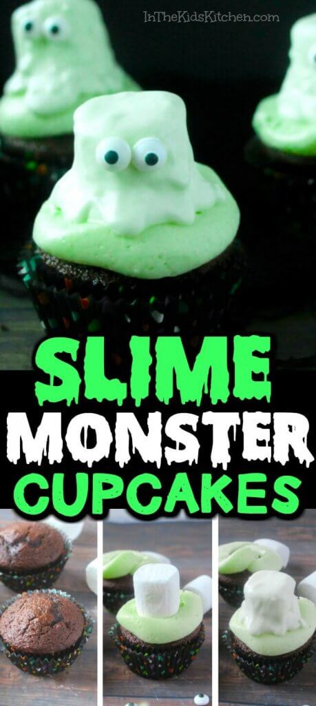 Creepy Slime Monster Cupcakes! Perfect for Halloween or slime birthday party treats!