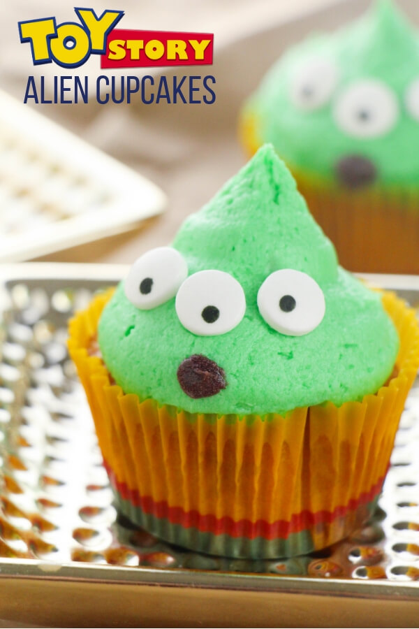 Super cute and super easy Little Green Alien Cupcakes inspired by the movie Toy Story! Click for photo step-by-step recipe!