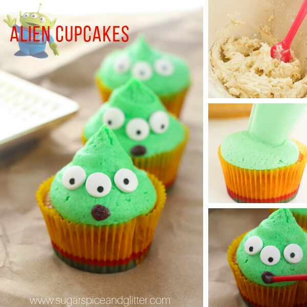 Super cute and super easy Little Green Alien Cupcakes inspired by the movie Toy Story!