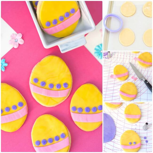 These cute Easter Egg Cookies are easy for kids to make using a sugar cookie mix shortcut and colorful fondant! Click for photo step-by-step recipes.