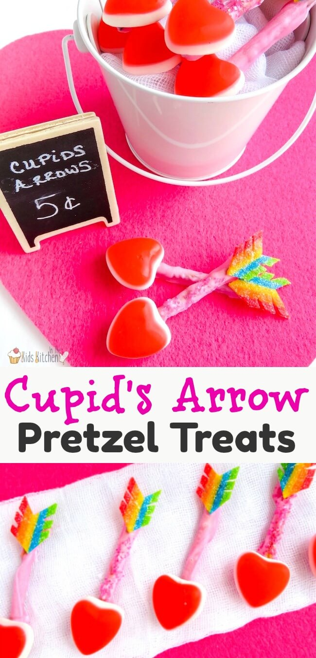 How to make Cupid's Arrow Pretzels, quick and easy Valentine's Day Treats! One of our favorite No-Bake Valentine's Day dessert ideas that kids can make!