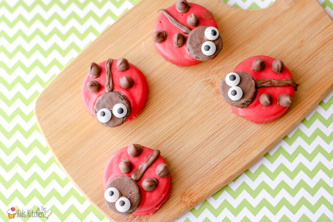 Chocolate covered Ladybug Oreos are a cute party dessert or lunchbox treat guaranteed to brighten your child's day!