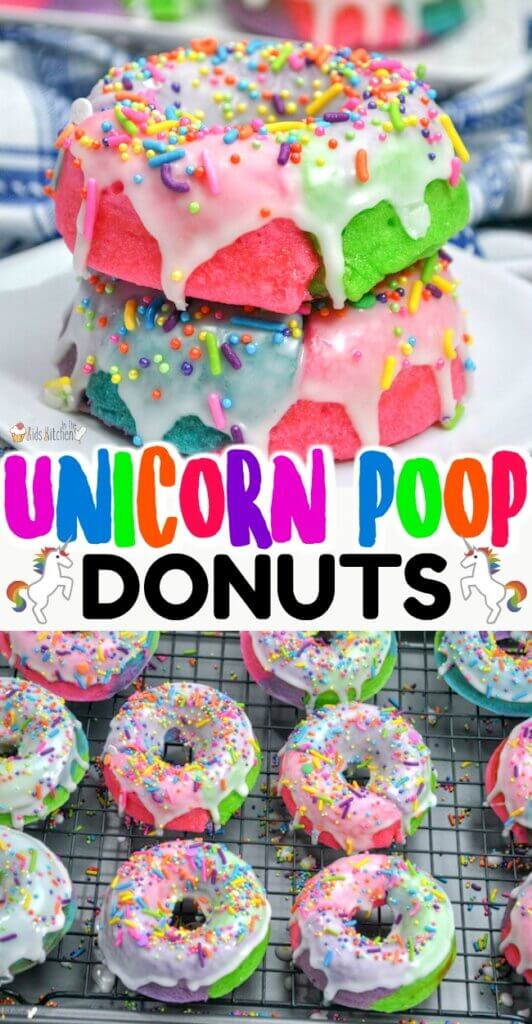 "Kids will go wild for these ""Unicorn Poop"" rainbow donuts! Easy baked donut recipe with sugar glaze - a guaranteed hit for any occasion!"
