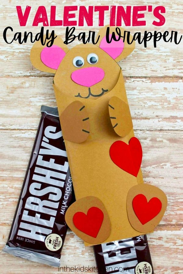 teddy bear candy bar wrapper made with construction paper