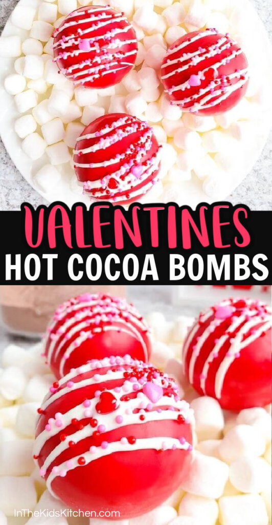 collage image showing Valentine's hot cocoa bombs