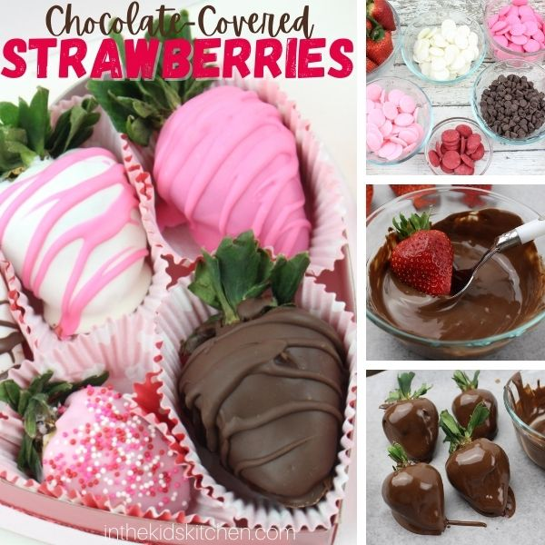 collage image showing how to make chocolate covered strawberries