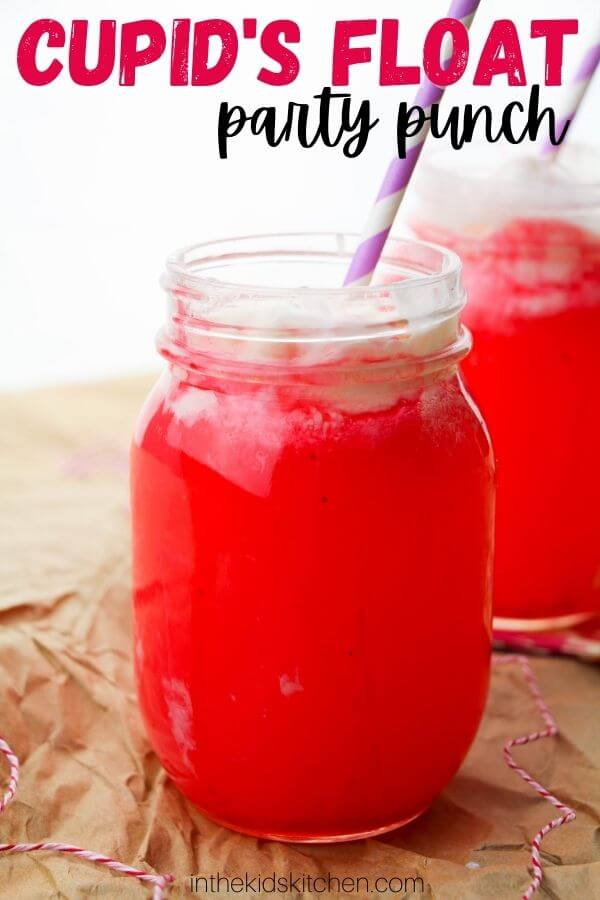 mason jar filled with strawberry juice and vanilla ice cream