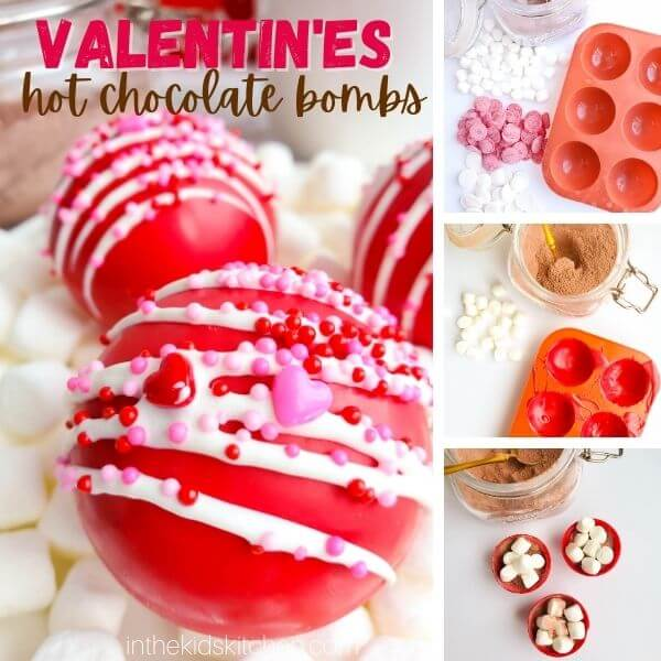 photo collage showing how to make hot chocolate bombs for Valentine's Day