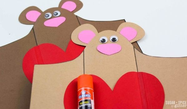 gluing faces on card stock teddy bears