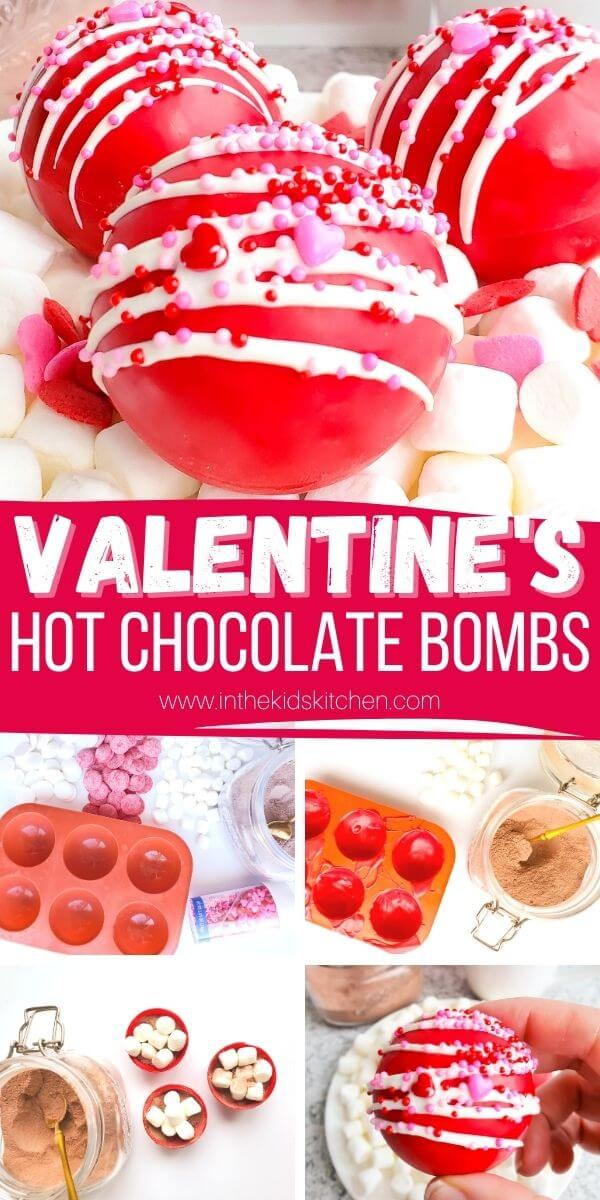 collage image showing how to make Valentine's Day hot chocolate bombs