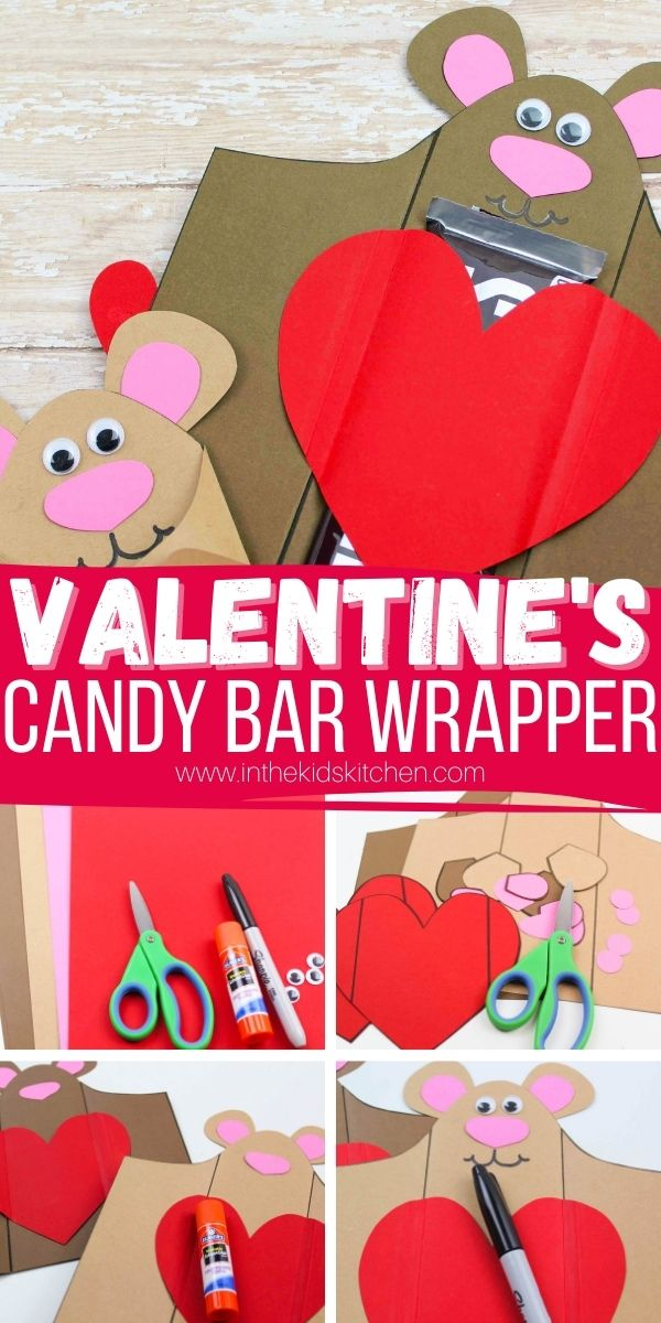 collage image showing how to make candy bar wrappers for Valentine's Day