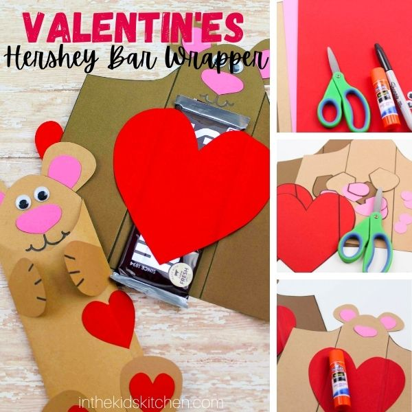 collage image showing how to make Valentine's Day candy bar wrappers